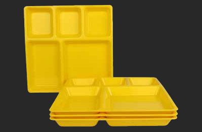 Bhojan Thali 5 Big & Partition Plate - Square Partition Plate and Plastic Compartment Tray