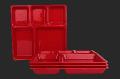 Compartment Plate 5 Big & Partition Plate - Square Partition Plate and Plastic Compartment Tray