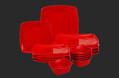 Dinner Set Sq Red